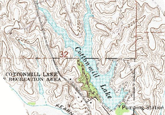 ChartSelect's contour preview for Cottonmill Reservoir LakeMaster Layer