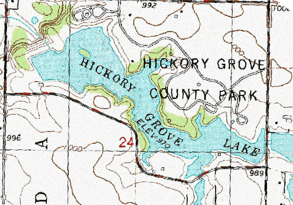 ChartSelect's contour preview for Hickory Grove LakeMaster Layer