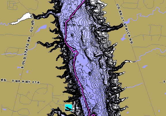 ChartSelect's contour preview for Alum Creek LakeMaster HD Contour