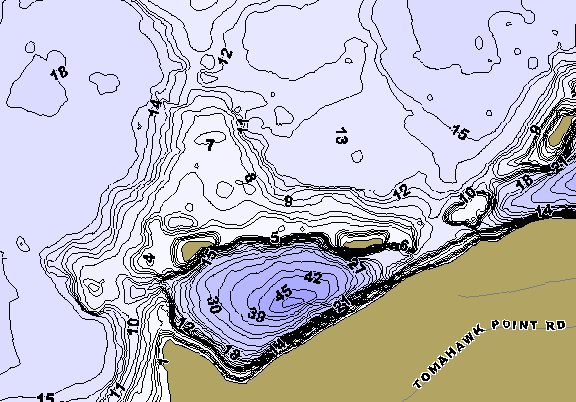 ChartSelect's contour preview for Island Reservoir LakeMaster HD Contour