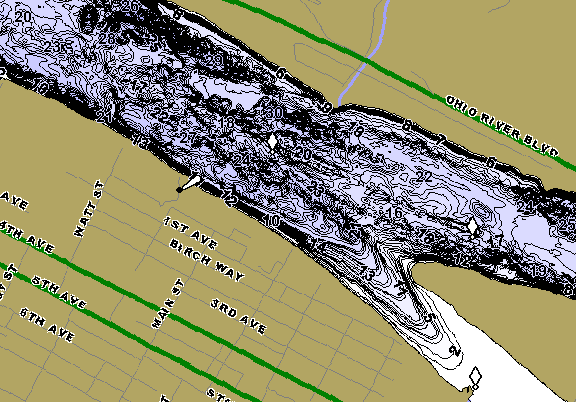 ChartSelect's contour preview for Ohio River - Dashields Pool LakeMaster HD Contour