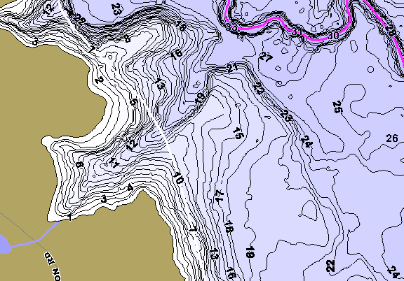 ChartSelect's contour preview for B Everett Jordan LakeMaster HD Contour
