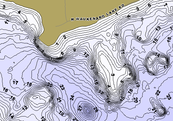 ChartSelect's contour preview for Waukenabo LakeMaster HD Contour
