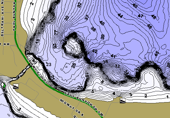 ChartSelect's contour preview for Lake Bemidji LakeMaster HD Contour