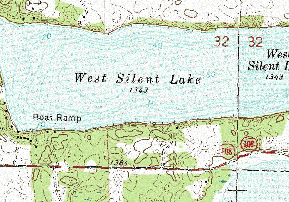 ChartSelect's contour preview for West Silent LakeMaster Layer
