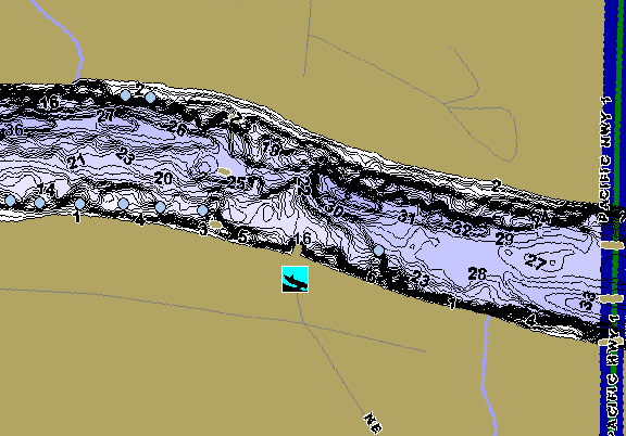 ChartSelect's contour preview for Willamette River: Ash Island LakeMaster HD Contour